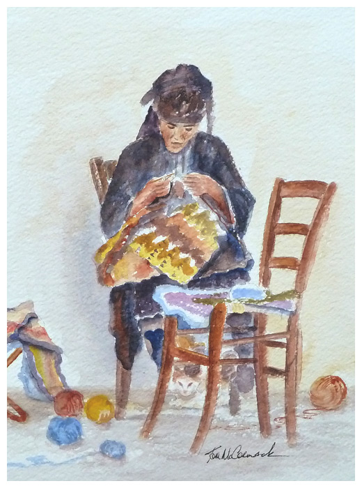 Crochet Woman :: A greek lady doing crochet